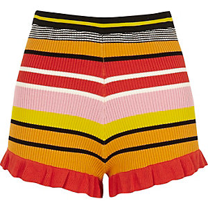Pink stripe knit frill hem shorts