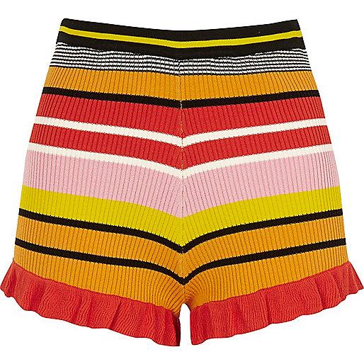 Pink stripe knit frill hem shorts