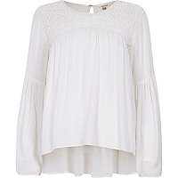 Cream lace yoke bell sleeve top