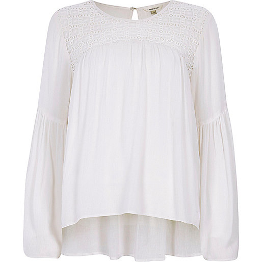 Cream lace yoke bell sleeve top