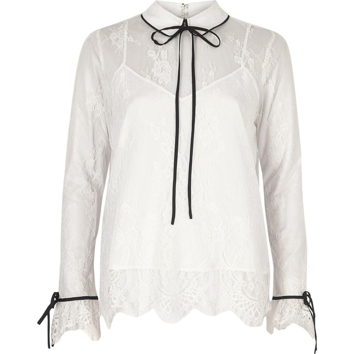 White lace frill tie neck blouse