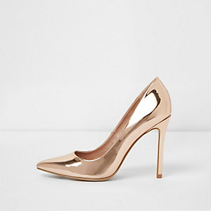 Rose gold metallic court shoes