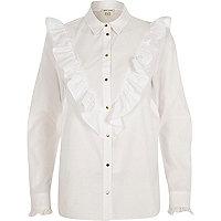 Chemise oversize blanche à volant en V
