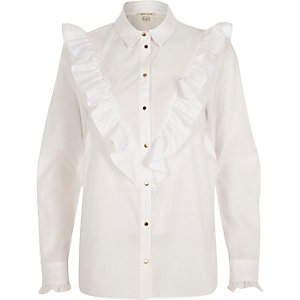 White V frill oversized shirt