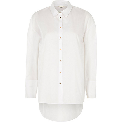 White poplin oversized shirt