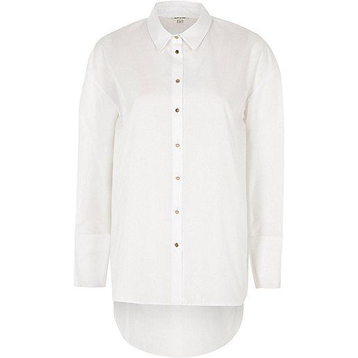 Weißes Oversized-Hemd aus Popelin
