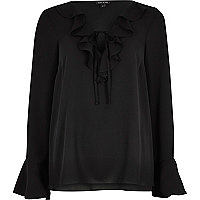 Black frill V neck blouse