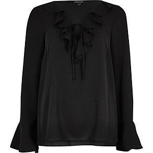 Black frill V neck blouse