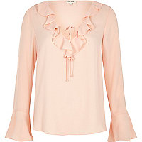 Light pink frill V neck blouse