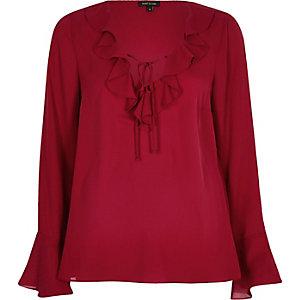 Dark red frill V neck blouse