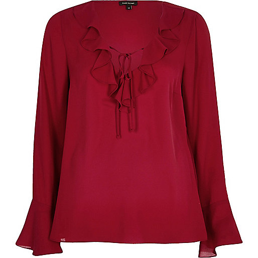 Dark red frill V neck blouse