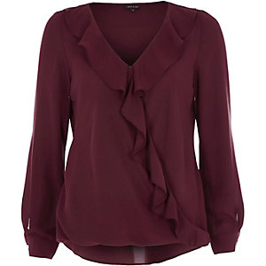 Dark red frill long sleeve blouse