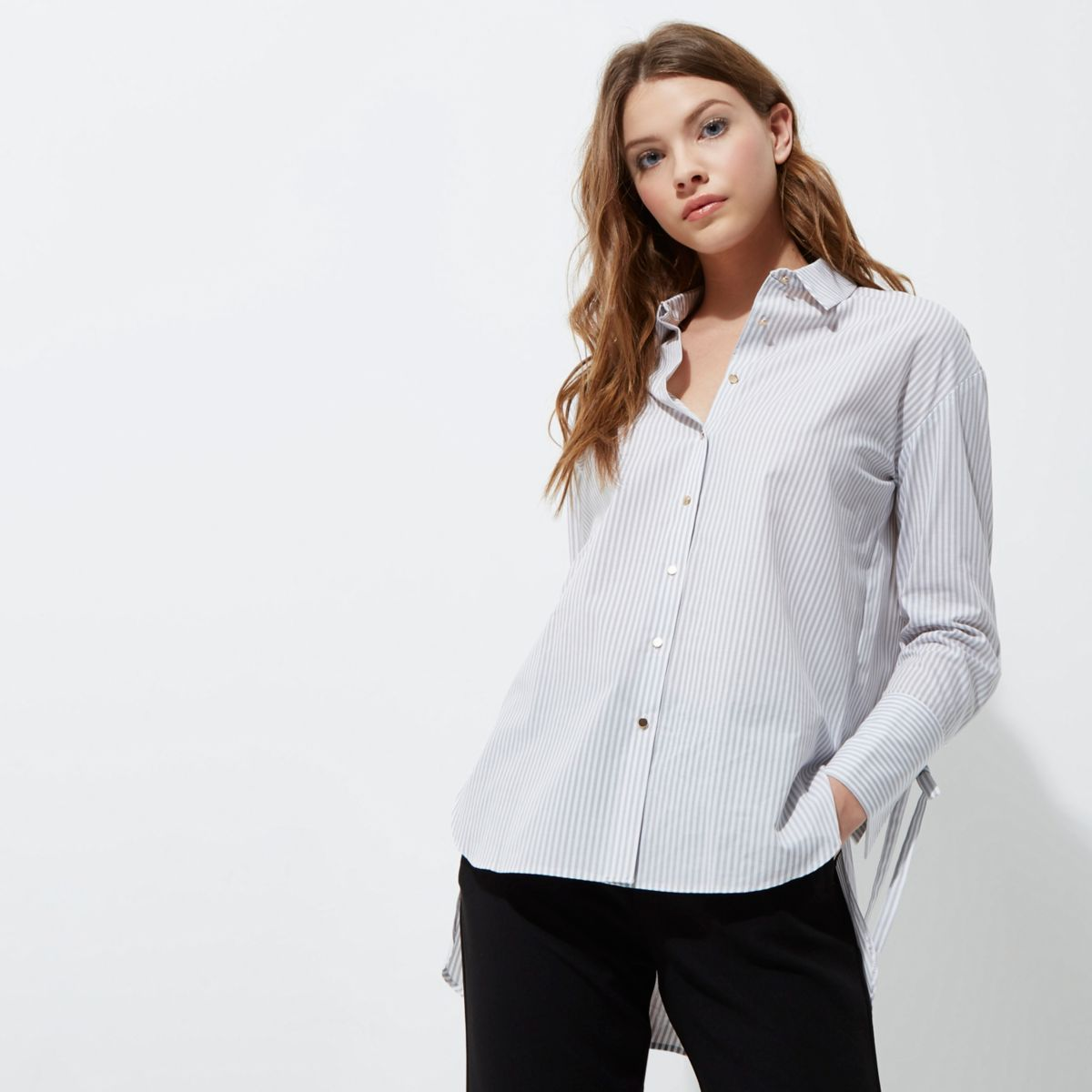 Grey stripe oversized tie cuff shirt tops sale women for Womens cuff link shirts