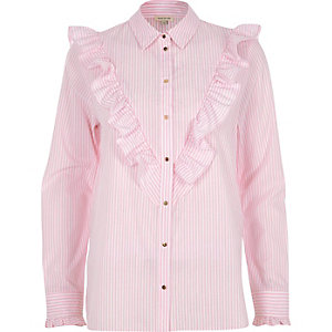 Pink stripe V frill oversized shirt