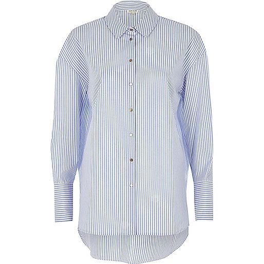 Blue striped poplin oversized shirt