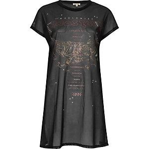 Black chaos tour print jumbo mesh T-shirt