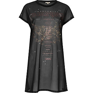 Zwart lang mesh T-shirt met Chaos tour-print