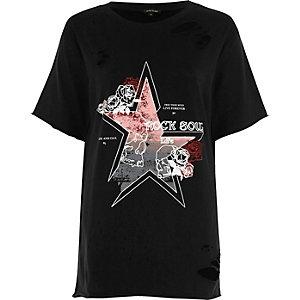 Black distressed band print T-shirt