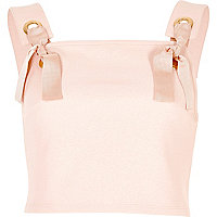 Light pink eyelet tie crop top