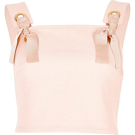 Light pink eyelet tie crop top