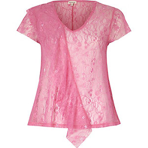 Bright pink lace front ruffle top