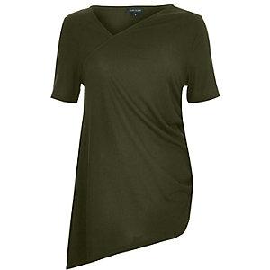 Khaki green drawstring asymmetric top