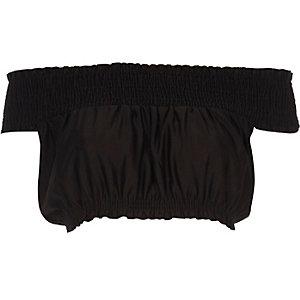 Crop top Bardot froncé noir