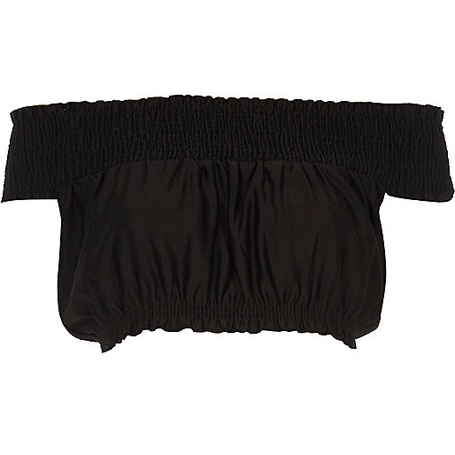 Black shirred bardot crop top