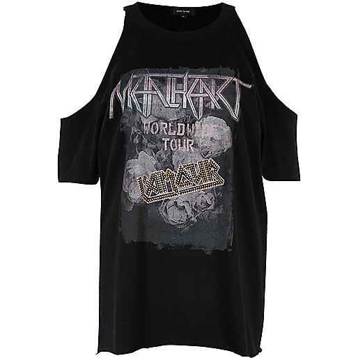 Black print cold shoulder band T-shirt