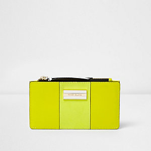 Lime green panelled slim foldout purse