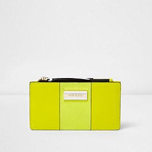 Lime green panelled slim foldout purse