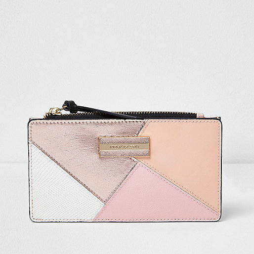 Rose gold panel slim zip top fold out purse