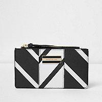 Black and white stripe slim fold out purse