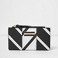 Black and white stripe slim fold out purse