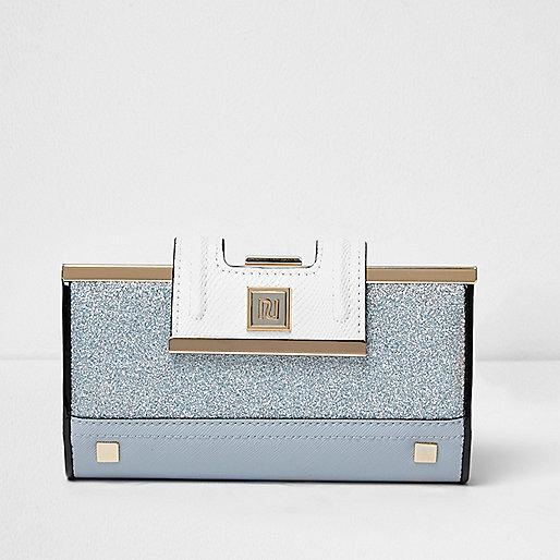 Blue glitter clip top purse