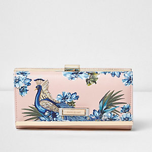 Pink peacock print clip top purse