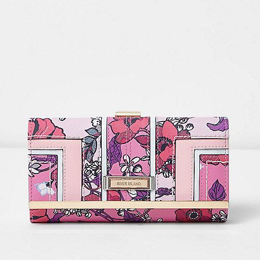 Pink floral panel clip top purse