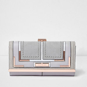 Grey rose gold clip top purse