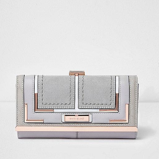 Grey rose gold clip top purse