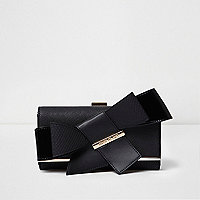 Black clip top bow purse
