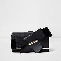 Porte-monnaie noir à nœud et fermoir
