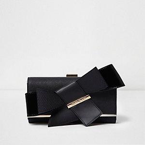 Black clip top bow purse