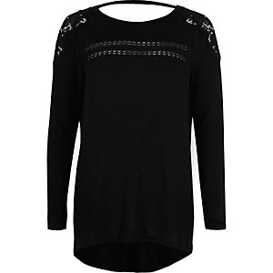 Black crochet trim long sleeve top