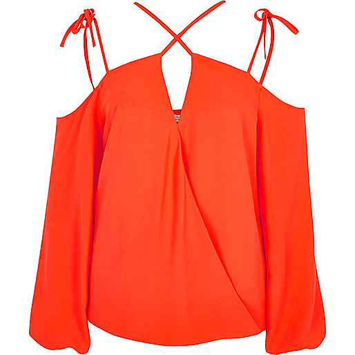 Red crossover strappy cold shoulder top