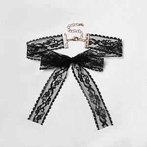 Ras-de-cou en dentelle noire avec nœud