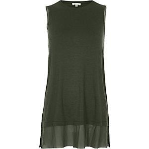 Khaki green mesh layer hem tank top