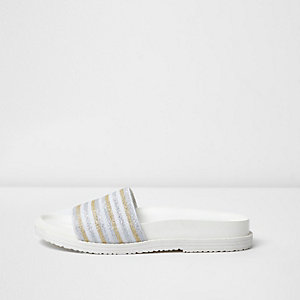 White metallic stripe sliders