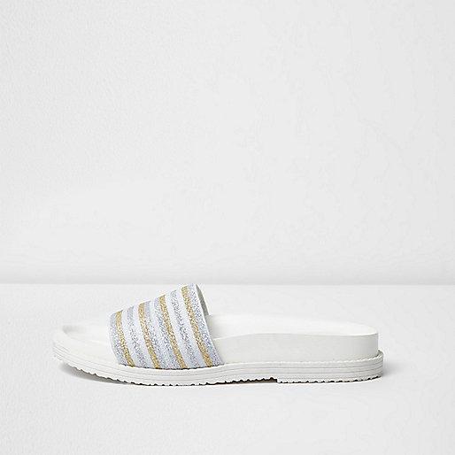 White metallic stripe sliders