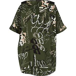Khaki print cold shoulder top