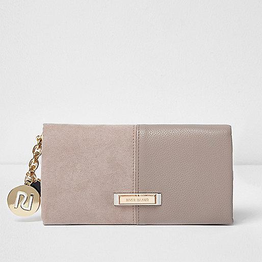 Beige faux suede foldover purse